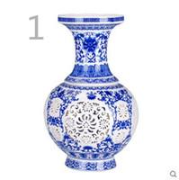 Wholesale Jingdezhen ceramics porcelain ivory white hollow small vase of modern fashion decoration decoration crafts