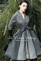 big pendulum - Le Palais Vintage Elegant Retro Grey Stitching Waist Big Pendulum All Match Long Coat High Quality Women s Clothing