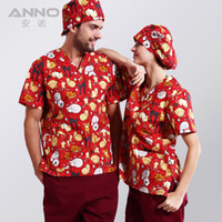 Wholesale 2016 ANNO printed medical clothings for Red Naughty cat fabric with comfortable and breathable medical uniform in scrubs set