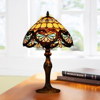 lamps stained glass - Tiffany lampshade pastoralism table lamps Retro colorized stained rural desk lamp Vintage handiwork light decoration cm
