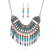 Wholesale Fashion necklace earring sets Bohemian water drop tassel necklace earrings sets exaggerated alloy necklace earrings set