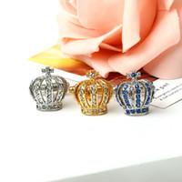 Wholesale Vintage Royal Crown Crystal Rhinestone Cufflinks Gold Silver Mens Shirt Cuff Links Groomsmen Gentlemen Wedding Party Jewelry Gifts Present