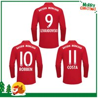 Wholesale Bayern Long sleeve RD home Away jerseys VIDAL COATA LEWANDOWSKI MULLER ROBBEN GOTZE BOATENG ALABA jersey