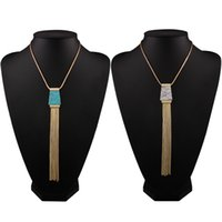 Wholesale Newest Europe Fashion Turquoise Gold Plated Chains Tassel Necklace Maxi Evening Party Pendant Jewelry for Female