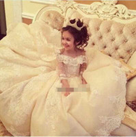 Wholesale 2017 Luxury Off The Shoulder Lace Girls Pageant Gown Long Sleeve Royal Style Tiered Skirts Flower Girls Dresses First Communion Dresses