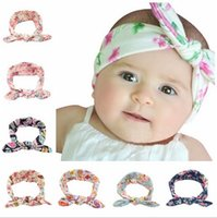 big bunny - 8 Color Princess Baby Kids Sand Beach Hair Bands Flora Handmade Big Bowknot Ajustable Bandanas Headbands Band Bunny Ear Cute headwrap knot