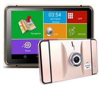 achat en gros de navigation gps livraison gratuite-Nouveau 7 pouces Quad Core Android Portable Tablet PC Type voiture Navigation GPS avec DVR + G-Sensor + Wifi + BT + FM livraison gratuite