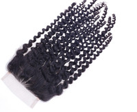 baby curl hair extensions - Kinky Curl Closure Human Hair Extension Brazilian Hair Unprocessed Remy Hair Black Color For Black Women Free Style With Baby Hair Bleached