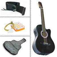 Wholesale Electric Acoustic Guitar Cutaway Design With Guitar Case Black New