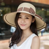 Wholesale Sun Hats Cap For Women Summer Beach Korean Style Bow knot Hat Women With Big Heads Fashion Lady s Sun Hat