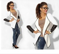 Wholesale Short Black Leather Coats Women - New Fashion 2016 Autumn Women Leather Sleeve Knitted Cardigan Fashion Long Sleeve Thin Poncho Outerwear Jacket Coat Black White Gray