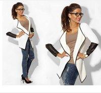 Precio de Leather jackets-Nueva moda 2016 Otoño mujeres de cuero de manga tejida de rebeca moda de manga larga de manga corta poncho chaqueta de abrigo negro blanco gris