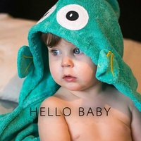 Robes Unisex Cotton Children Bath Towels Robes Baby 3D Cute Cartoon Elephant Fish Bathroom Towels Kids Swimming Cotton Beach Towel Swaddle Bedding Blanket
