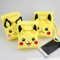 Pikachu Plush Double-couche Phone Package Poke Wallet Coin Purse Messenger Bag Femmes Cartoon Cartoon Mini Eevee Porte-clés Porte-monnaie Sacs à dos