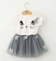 bear kitten - Bear Leader Girls Clothing Sets New Summer Fashion Style Cartoon Kitten Printed T Shirts Net Veil Dress Girls Clothes Sets HJIA287
