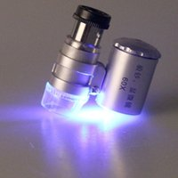 Wholesale 2015 New Mini X Microscope UV LED Light Lllumination Pouch Loupe Magnifier With Money Currency Detecting And Leather Package