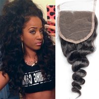 Wholesale 4x4 Lace Closure Bleached Knots A Peruvian Loose Wave Lace Closure Free Middle Part Human Hair Closure With Baby Hair