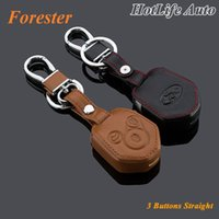 automobile key fobs - Automobiles Subaru Forester Car Keychain Genuine Leather Key Fob Case Cover for Forester Key Chain Car Accessories
