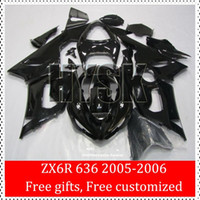 Wholesale Full Black ZX6R Fairing Kits For Kawasaki Ninja ZX R ZX R ZX ZX636 Motorbike Body Cover Racing Fairings