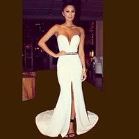 Wholesale 2015 Hot Sexy White Sweetheart Beaded Sash Long Front Slit Mermaid Evening Prom Dresses Gowns Vestido De Festa Cheap Party Dress For Women