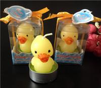Pequeños regalos Ducky de goma del favor de la boda del favor del cumpleaños de la fiesta de bienvenida al bebé de la vela de la vela del pato DHL liberan el envío
