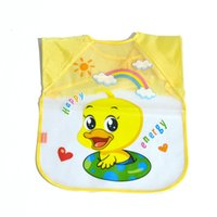 baby wipes for cleaning - Multi color Waterproof Sleeved Bib Baby Bibs Cartoon Burp Cloths For Boys Girls Wipe Clean Fast Drying