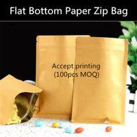 bag custom paper - 200pcs Small Resealable Flat Bottom Ziplock Kraft Paper Packaging Bag Custom Printed Logo Paper Zip Pouch Gift Paper Bag