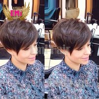 bang styles for short hair - Black short hair cut styles Cheap Pixie Cut short glueless lace front human hair wigs with bangs for african americans Best brazilian hair