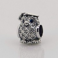 Wholesale Owl silver charm with swiss blue crystal and cubic zirconia Sterling Silver Charm Beads Fits For Pandora Bracelets European