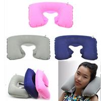 Wholesale Hot Car Travel Sleeping Pillow Air Inflatable Neck Pillow U Shaped Pillow Inflatable Neck Air Cushion Inflatable Headrest Fast Shipping