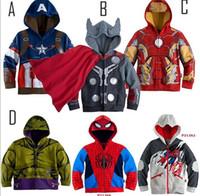 america leather jacket - 2016 Children Hoodies JACKET BABY Boys Captain America Hoodies Jacket Avengers Hulk thor iron man Superhero cosplay Kids hoodie jacket