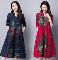 Wholesale 2016 Autumn cotton Linen dresses women floral short sleeve Vintage Plus Size Oversized Casual Loose long maxi dress