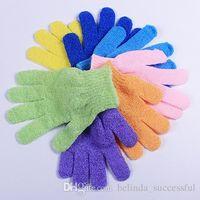 Wholesale Free DHL Exfoliating Bath Glove Five fingers Bath Gloves bathroom accessories nylon bath gloves Bathing supplies bath products