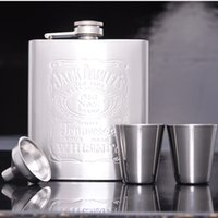 Wholesale DHL or EMS OZ Hip Flasks Set Stainless Steel With Cups Funnel Portable Stainless Steel oz Hip Flask Flagon Whiskey Wine Pot Bottle