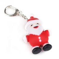 Wholesale 1PC Cute LED Light Sounding Santa Claus Shape Plastic Key Chain KeyRing XMAS Gift