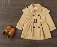 autumn winter trench - 2016 New Britsh style fashion double breasted trench coats kids jackets autumn and winter girls clothes cool wind coats