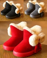 Wholesale 2016 plus thick velvet bow plush baby shoes flat years old waist tassel pendant princess students walk snow boots LY