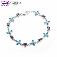 australian crystal opal - New Australian Fire Blue Purple Crystal OPAL Bracelet Sterling Silver Fine Costume Jewelry For Women Anniversary Party FB087