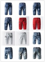 Cheap 2016 Robin BALMAIn Jeans Shorts Men Runway Biker Folds Ripped American JEANSWEAR Cowboy Famous Brand Zipper Designer Men Pants