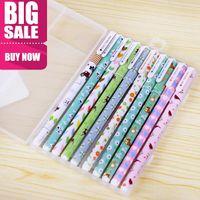 Wholesale 10pcs cartoon floral color gel pen kawaii stationry cute pens for writing school supplies papelaria
