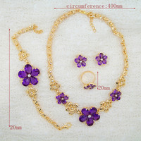Wholesale 2016 Europe Middle East Africa and exotic hot seller fashion jewelry gold yellow necklace jewelry Violet weeding jewelry sets