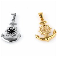 anchor steering wheel - Unique Design Silver Gold Stainless Steel Anchors Pendant Nacklace With steering wheel Men s Chain Xmas Gift