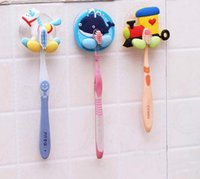 Wholesale 10pcs Cartoon style kitchen rack toothbrush hanger bathroom towel holder sucker