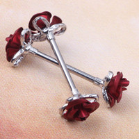 Wholesale stainless steel Steel Love Rose Nipple Shield Bar Ring Body Piercing Jewelry wholesales Gauges