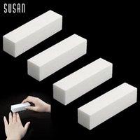 beauty buffer - 4 Nail Art Buffer File Block Pedicure Manicure Buffing Sanding Polish White Makeup Beauty Tools