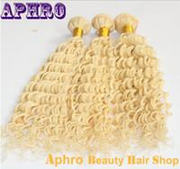 Cheap Premium Pure 613 Platinum Blonde Brazilian Hair Extensions Original Human Hair Wefts 100g bundle Blonde Curly Hair Weaves For Wholesale