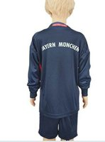 Wholesale Customize Uniforms Kit Youth Kids Bayer Bayern Soccer Jersey NEUER STARKE REINA Munich Dark Blue Long Sleeve Goalkeeper Jerseys
