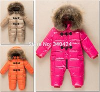Wholesale New style russian winter baby girl warm thicken down Natural fur rompers Newborn jumpsuit boy clothing snowsuits outerwear coat