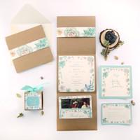 Wholesale Wedding Invitation Card tiffany blue Thank you card Menu card wedding invitations customizable high end Original envelope