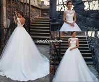 basque belt - Milla Nova Wedding Dresses for Western Styling Brides Bateau Neck Backless A Line Waist With Belt Romantic Tuscan Garden Bridal Gown